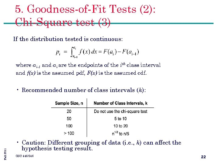 5. Goodness-of-Fit Tests (2): Chi-Square test (3) If the distribution tested is continuous: where