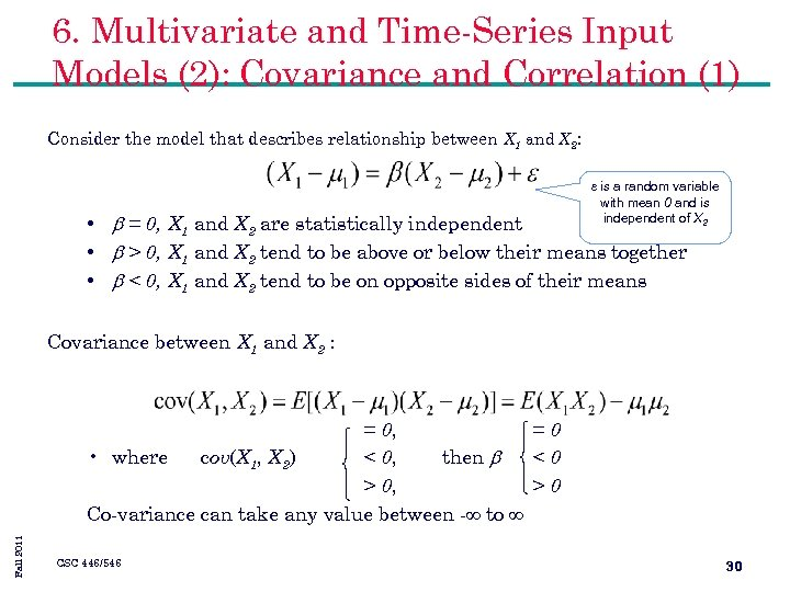 6. Multivariate and Time-Series Input Models (2): Covariance and Correlation (1) Consider the model