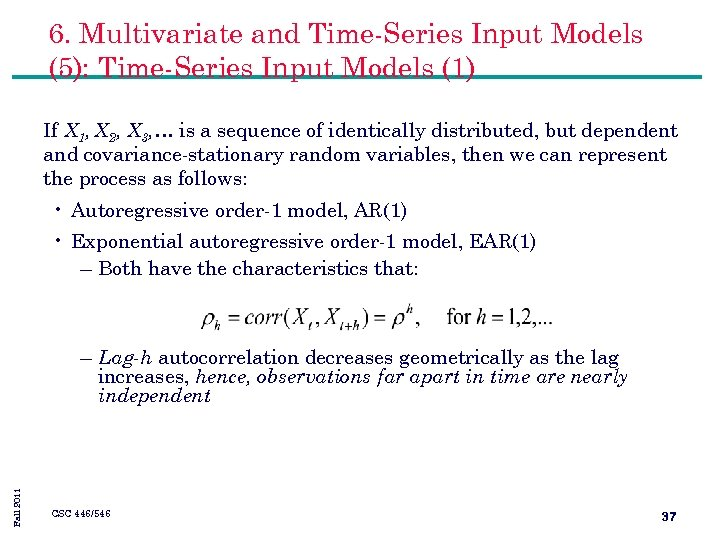 6. Multivariate and Time-Series Input Models (5): Time-Series Input Models (1) If X 1,