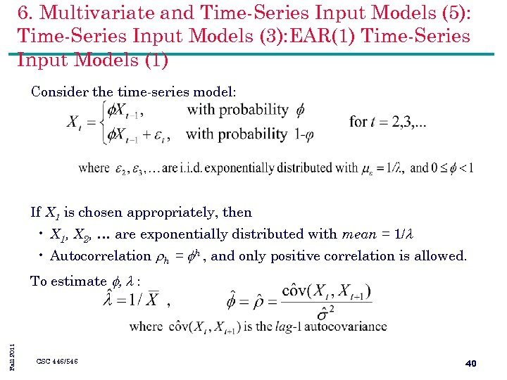 6. Multivariate and Time-Series Input Models (5): Time-Series Input Models (3): EAR(1) Time-Series Input