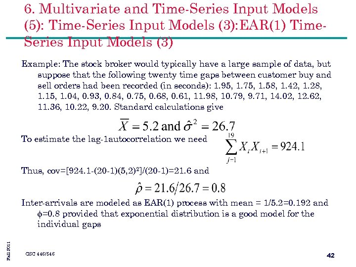 6. Multivariate and Time-Series Input Models (5): Time-Series Input Models (3): EAR(1) Time. Series