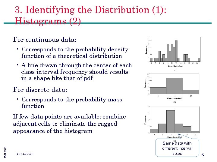 3. Identifying the Distribution (1): Histograms (2) For continuous data: • Corresponds to the