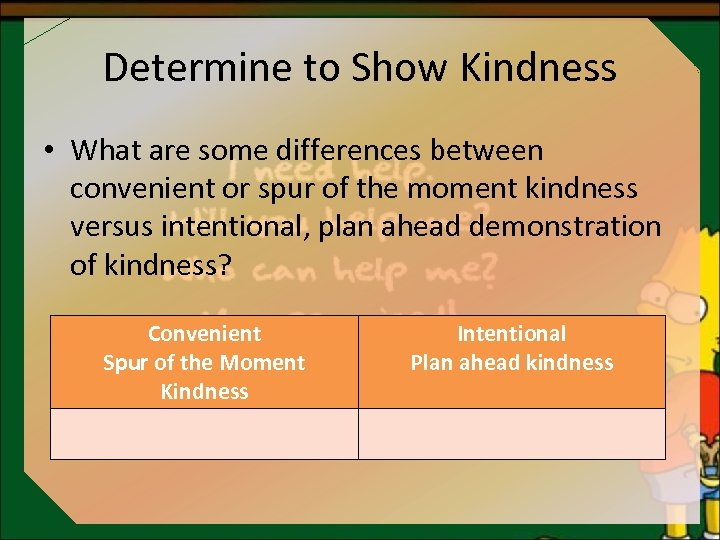 Determine to Show Kindness • What are some differences between convenient or spur of
