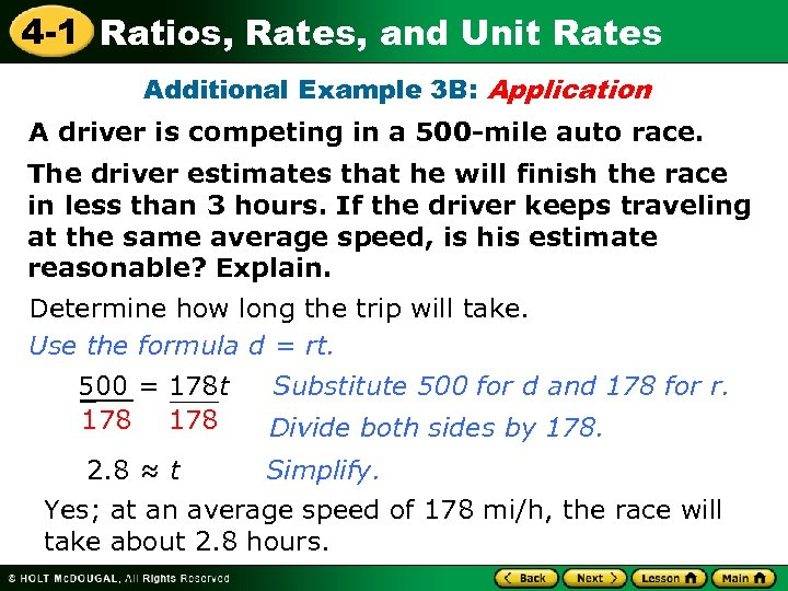 4 -1 Ratios, Rates, and Unit Rates Additional Example 3 B: Application A driver