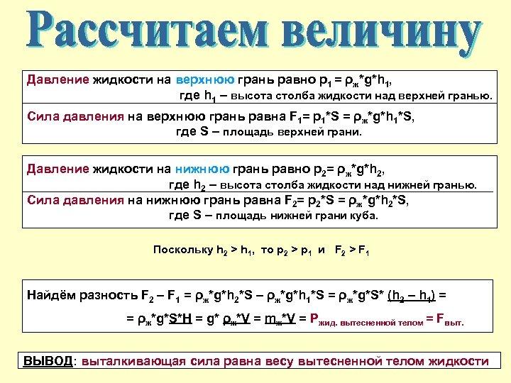Давление жидкости на верхнюю грань равно р1 = ρж*g*h 1, где h 1 –