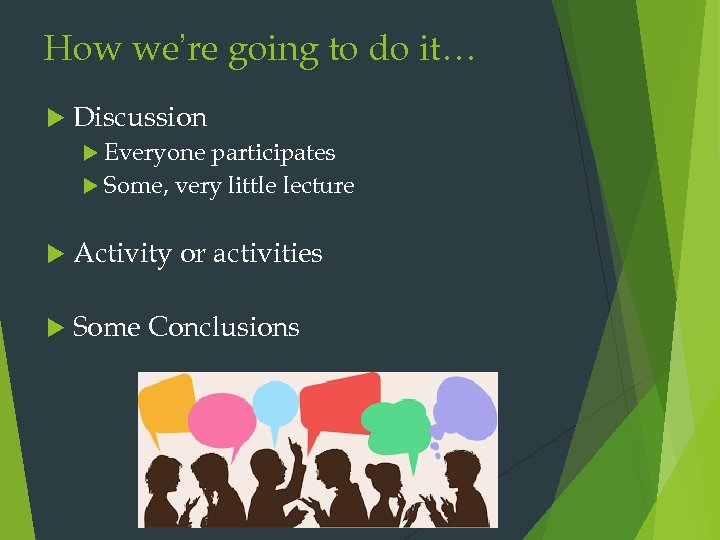 How we're going to do it… Discussion Everyone participates Some, very little lecture Activity