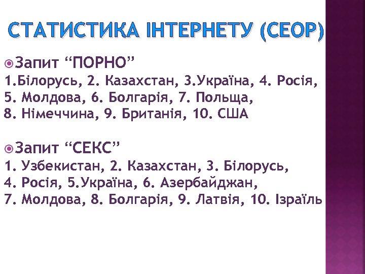 """СТАТИСТИКА ІНТЕРНЕТУ (CEOP) Запит """"ПОРНО"""" 1. Білорусь, 2. Казахстан, 3. Україна, 4. Росія, 5."""