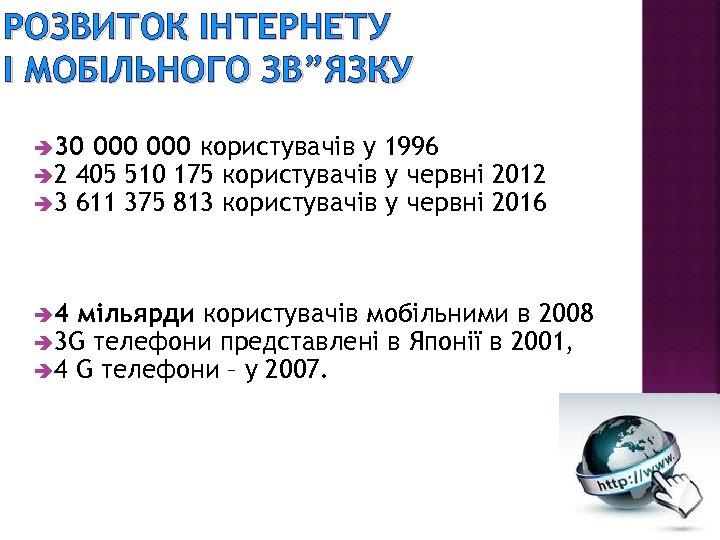 """РОЗВИТОК ІНТЕРНЕТУ І МОБІЛЬНОГО ЗВ""""ЯЗКУ è 30 000 користувачів у è 2 405 510"""