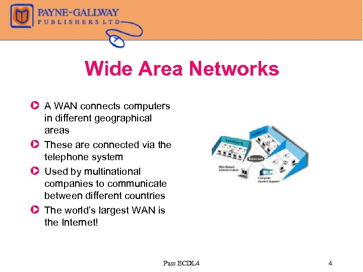 Wide Area Networks Z A WAN connects computers in different geographical areas Z These