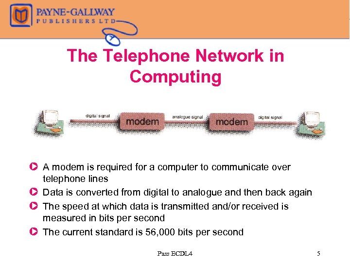 The Telephone Network in Computing Z A modem is required for a computer to