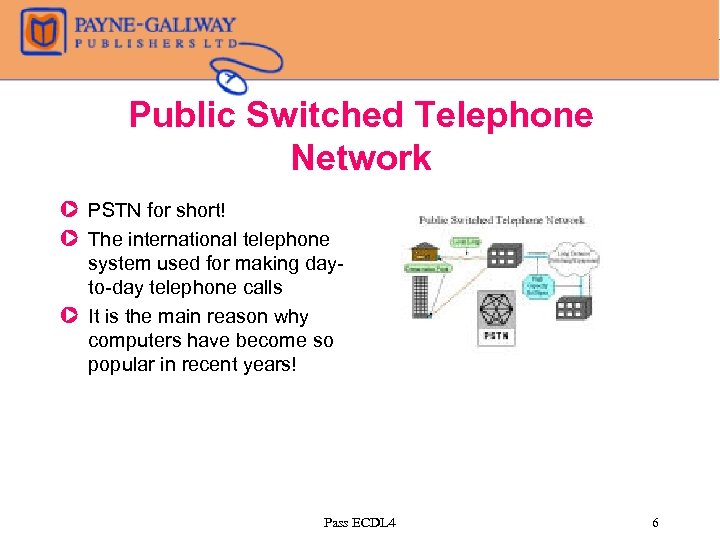 Public Switched Telephone Network Z PSTN for short! Z The international telephone system used
