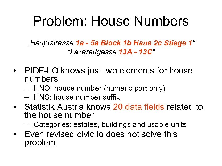 "Problem: House Numbers ""Hauptstrasse 1 a - 5 a Block 1 b Haus 2"