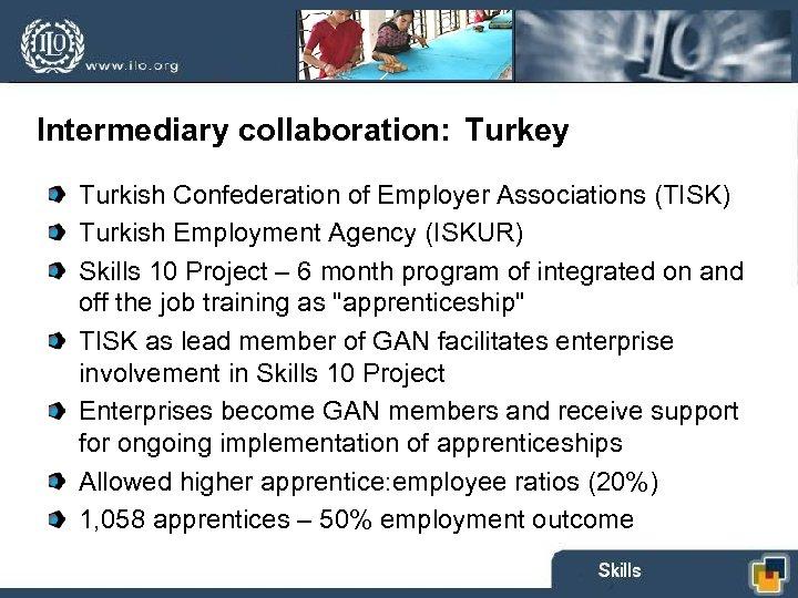 Intermediary collaboration: Turkey Turkish Confederation of Employer Associations (TISK) Turkish Employment Agency (ISKUR) Skills