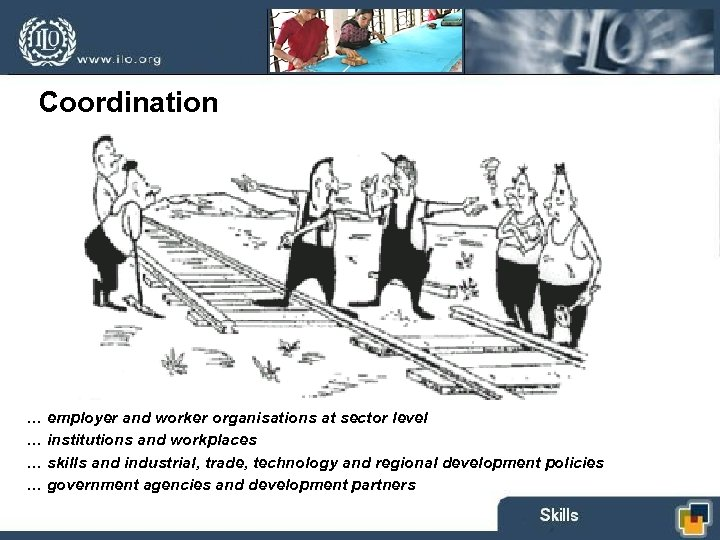 Coordination … employer and worker organisations at sector level … institutions and workplaces …
