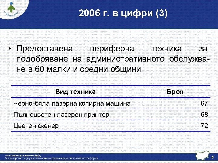 2006 г. в цифри (3) • Предоставена периферна техника за подобряване на административното обслужване