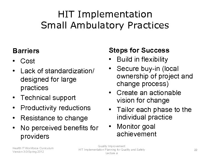 HIT Implementation Small Ambulatory Practices Barriers • Cost • Lack of standardization/ designed for