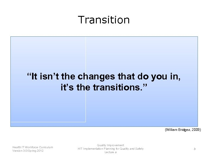 """Transition """"It isn't the changes that do you in, it's the transitions. """" (William"""