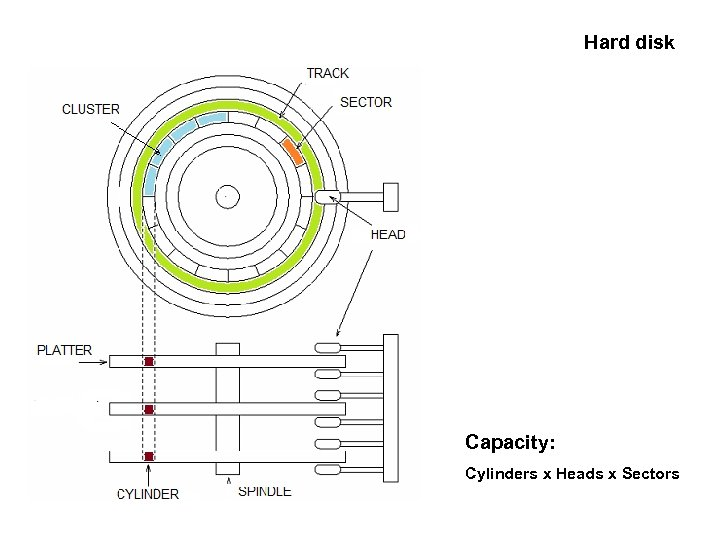 Hard disk Capacity: Cylinders x Heads x Sectors