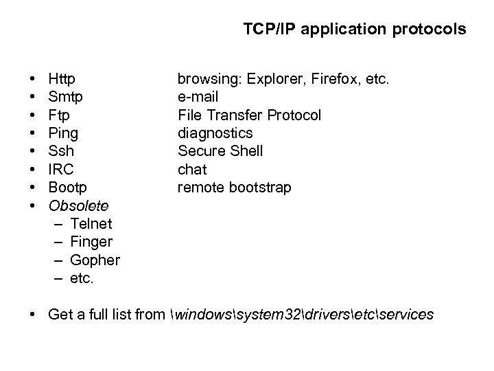TCP/IP application protocols • • Http Smtp Ftp Ping Ssh IRC Bootp Obsolete –