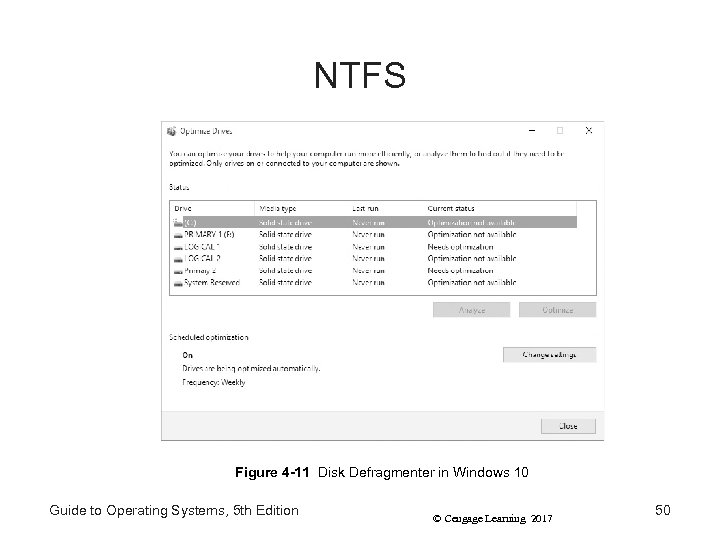 NTFS Figure 4 -11 Disk Defragmenter in Windows 10 Guide to Operating Systems, 5