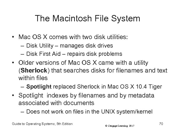 The Macintosh File System • Mac OS X comes with two disk utilities: –