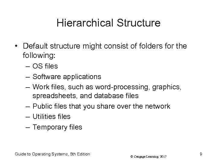 Hierarchical Structure • Default structure might consist of folders for the following: – OS
