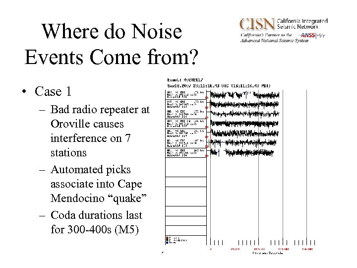 Where do Noise Events Come from? • Case 1 – Bad radio repeater at