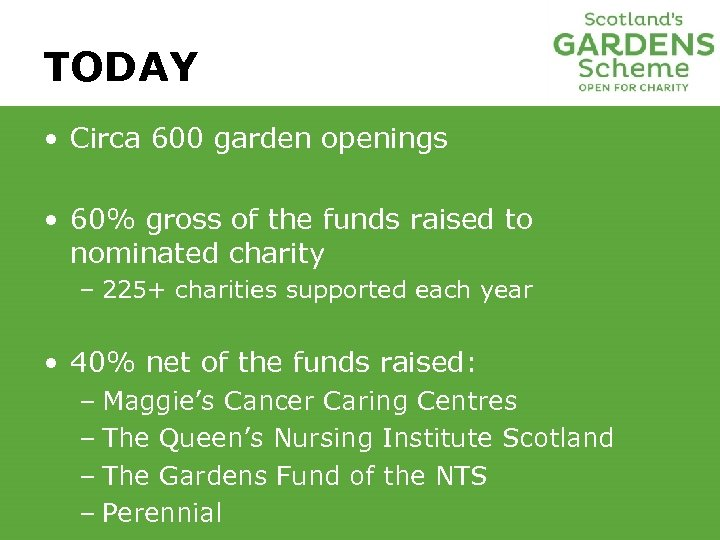 TODAY • Circa 600 garden openings • 60% gross of the funds raised to