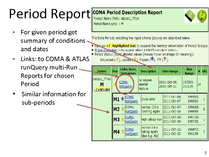 Period Report • For given period get summary of conditions and dates • Links: