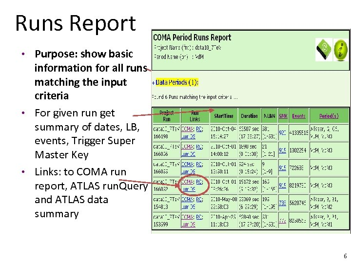Runs Report • Purpose: show basic information for all runs matching the input criteria