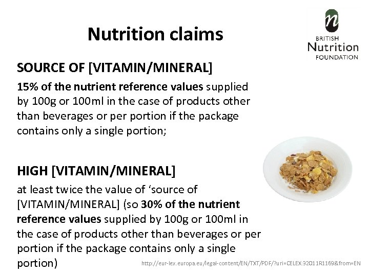 Nutrition claims SOURCE OF [VITAMIN/MINERAL] 15% of the nutrient reference values supplied by 100