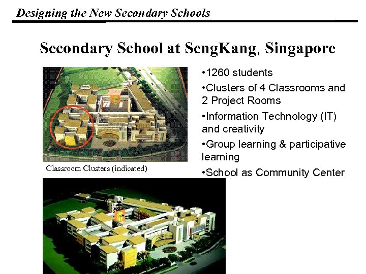 Designing the New Secondary Schools Secondary School at Seng. Kang, Singapore Classroom Clusters (indicated)
