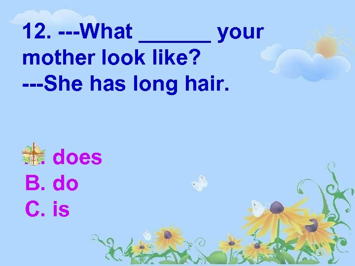 12. ---What ______ your mother look like? ---She has long hair. A. does B.