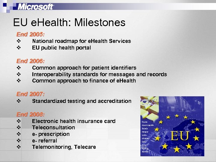 EU e. Health: Milestones End 2005: v v National roadmap for e. Health Services