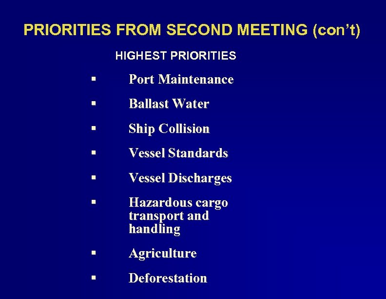 PRIORITIES FROM SECOND MEETING (con't) HIGHEST PRIORITIES § Port Maintenance § Ballast Water §