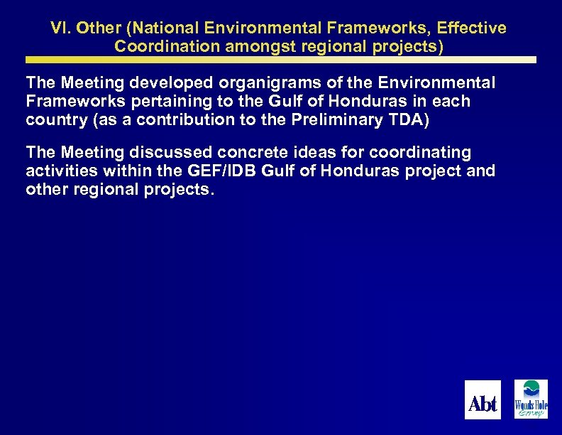 VI. Other (National Environmental Frameworks, Effective Coordination amongst regional projects) The Meeting developed organigrams