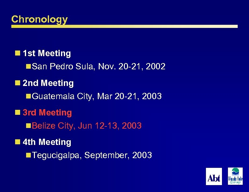 Chronology n 1 st Meeting n. San Pedro Sula, Nov. 20 -21, 2002 n