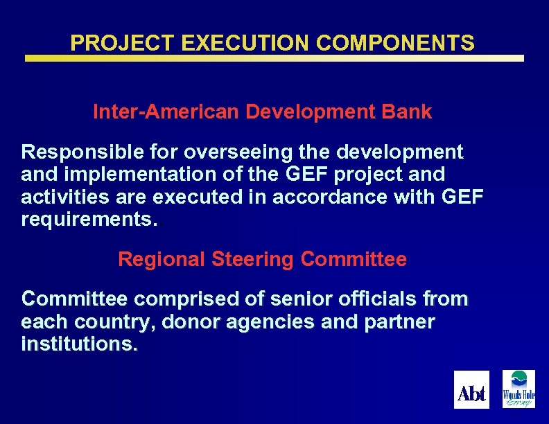 PROJECT EXECUTION COMPONENTS Inter-American Development Bank Responsible for overseeing the development and implementation of