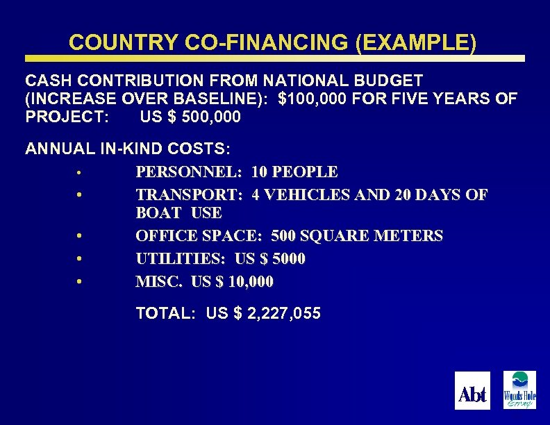 COUNTRY CO-FINANCING (EXAMPLE) CASH CONTRIBUTION FROM NATIONAL BUDGET (INCREASE OVER BASELINE): $100, 000 FOR