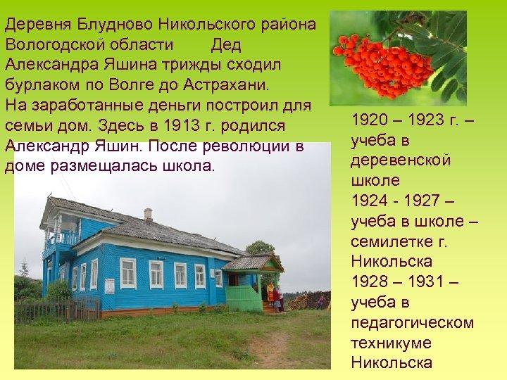Деревня Блудново Никольского района Вологодской области Дед Александра Яшина трижды сходил бурлаком по Волге