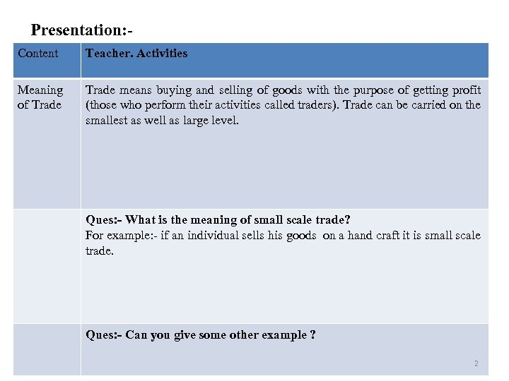Presentation: Content Teacher. Activities Meaning of Trade means buying and selling of goods with