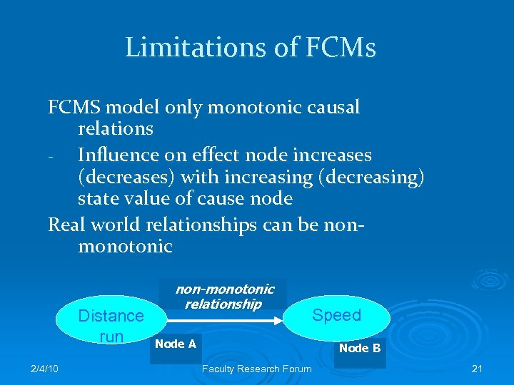 Limitations of FCMs FCMS model only monotonic causal relations - Influence on effect node