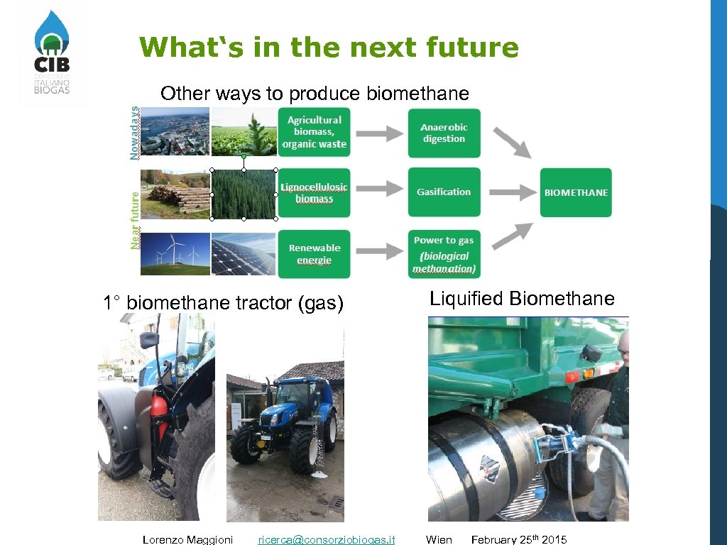 What's in the next future Other ways to produce biomethane 1° biomethane tractor (gas)