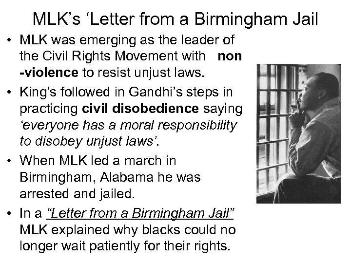 MLK's 'Letter from a Birmingham Jail • MLK was emerging as the leader of