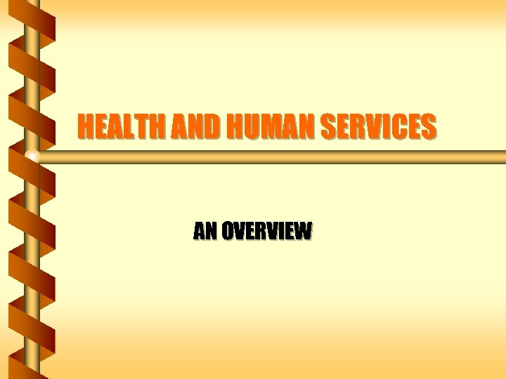 HEALTH AND HUMAN SERVICES AN OVERVIEW