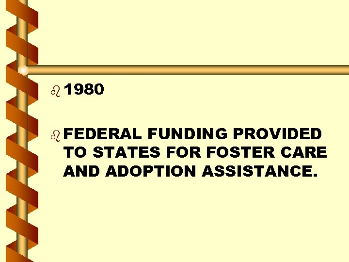 b 1980 b FEDERAL FUNDING PROVIDED TO STATES FOR FOSTER CARE AND ADOPTION ASSISTANCE.