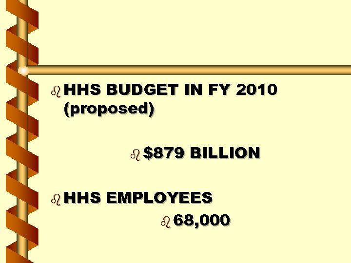 b HHS BUDGET IN FY 2010 (proposed) b $879 b HHS BILLION EMPLOYEES b