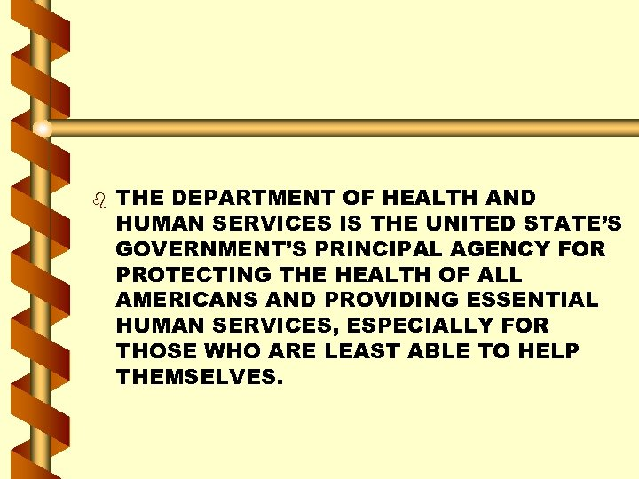 b THE DEPARTMENT OF HEALTH AND HUMAN SERVICES IS THE UNITED STATE'S GOVERNMENT'S PRINCIPAL