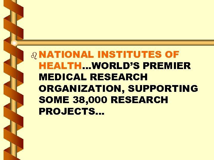 b NATIONAL INSTITUTES OF HEALTH…WORLD'S PREMIER MEDICAL RESEARCH ORGANIZATION, SUPPORTING SOME 38, 000 RESEARCH
