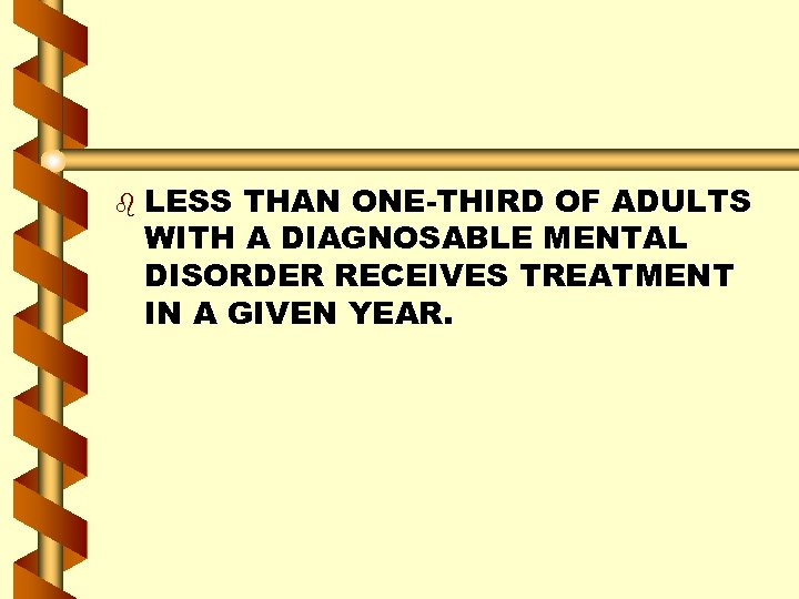 b LESS THAN ONE-THIRD OF ADULTS WITH A DIAGNOSABLE MENTAL DISORDER RECEIVES TREATMENT IN